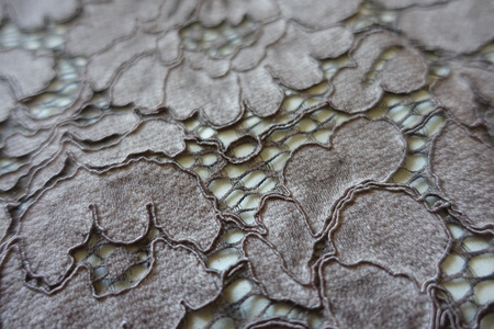 Closeup of grey lace with floral pattern