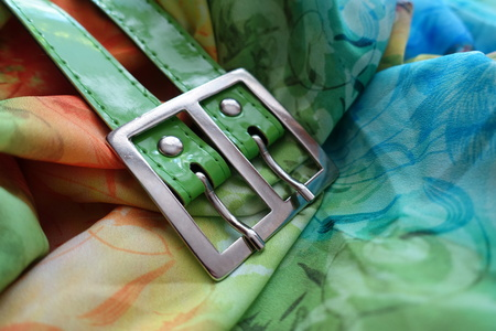 gauzy: Double steel buckle and belt on multi-colored textile
