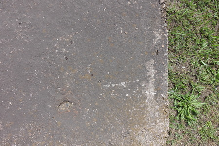 exasperate: Old dusty concrete slab overgrown with grass