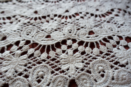 Closeup of ivory old fashioned lacy fabric Banco de Imagens