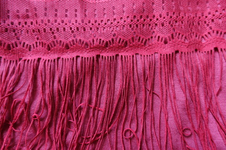 Long fringe on ruby red cotton fabric