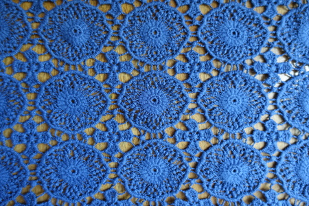 Rustic blue lacy fabric on wood from above Imagens - 94262717