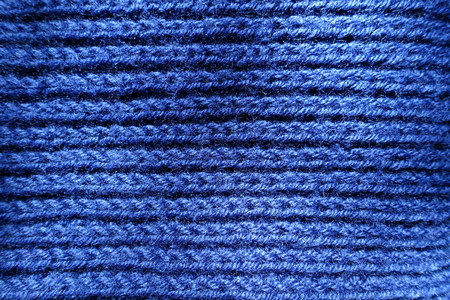 Top view of handmade blue rib knit fabric