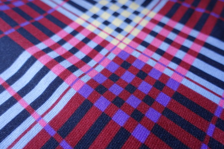 Close shot of bright colorful checkered fabric Stock Photo