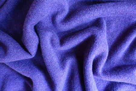 Rumpled violet thin simple woolen jersey fabric