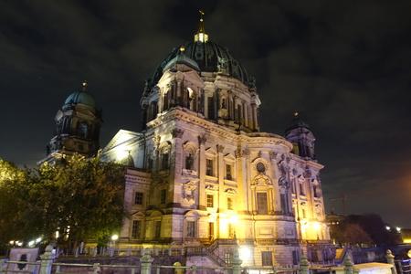 Illuminated Berlin Cathedral (Berliner Dom) at night Banco de Imagens