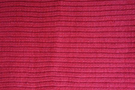 Top view of red rib knit fabric