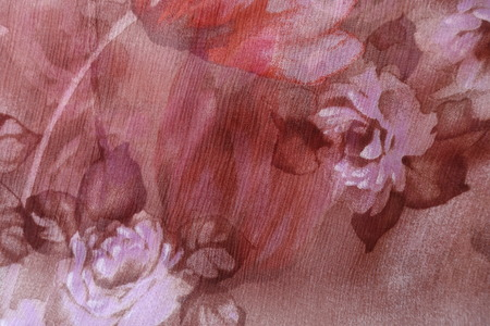 Pink and brown chiffon fabric with floral print