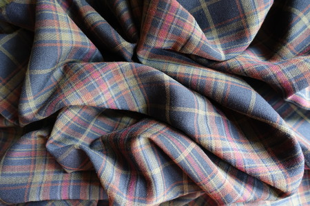 Wrinkled thick plaid fabric  in subdued colors Stok Fotoğraf