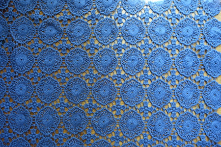 Blue lacy fabric on wood from above Imagens