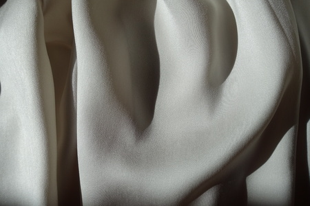 Rippled thin shiny light grey chiffon fabric