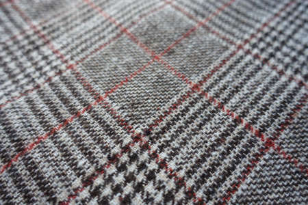 Close view of gray and red Glen check fabric