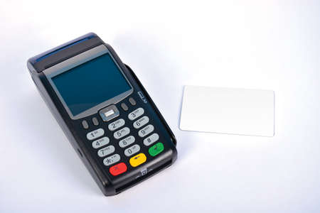 gprs: POS Payment GPRS Terminal with Credit Card, isolated on white