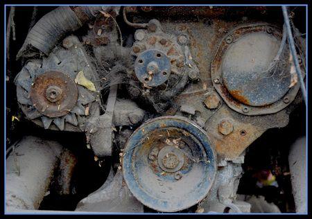forgotten: old, forgotten rusty engine Stock Photo
