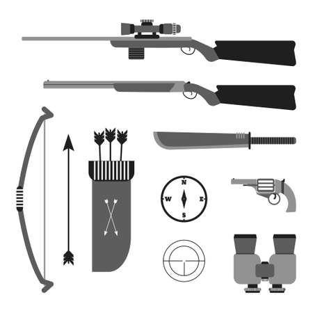 machete: Hunting vector set. Flat style equipment. Isolated weapons and tools. Illustration