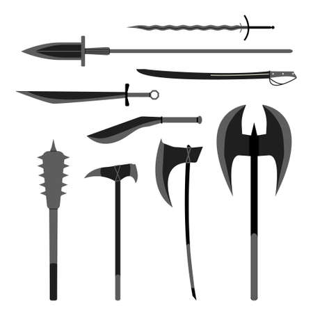 hammer throw: Medieval weapons vector set. Flat style equipment. Isolated weapons and tools. Illustration