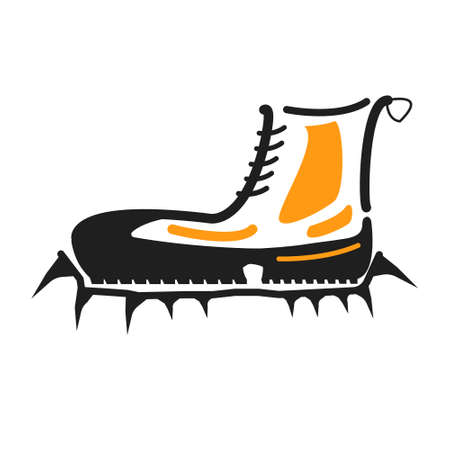 crampons: Boots with crampons isolated on white background. Boots with crampons vector illustration.