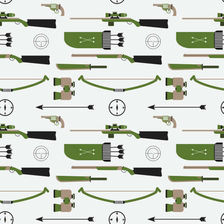 machete: Hunting vector pattern. Flat style equipment. Isolated weapons and tools. Illustration
