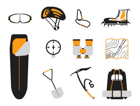 crampons: ?limbing set: carbines, Ice ax, boots with crampons, backpack, compass,  sleeping bag, goggles, binoculars, helmet, map, shovel on white background. Vector illustration.