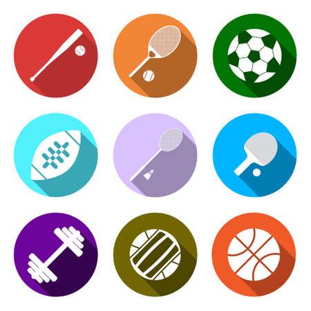 Equipment for sports. Flat Sports Objects set. Isolated tennis ball, basketball ball, baseball bit, tennis racquet, soccer ball, american football ball, shuttlecock, dumbbell. Vector illustration.