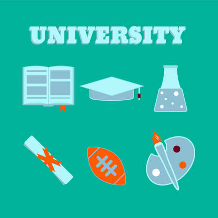 abstract academic: University flat icons. Set of college items. Isolated high school education icons.  Vector illustration.