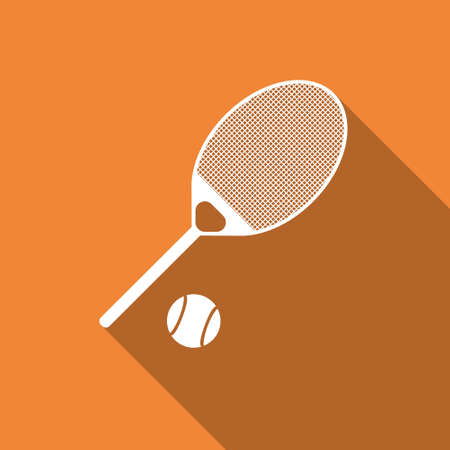 tennis racquet: Equipment for sports. Flat Sports Objects for Tennis. Isolated tennis racquet with ball. Vector illustration.