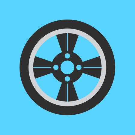 Car wheel flat icon on background. Vector illustration. Isolated.