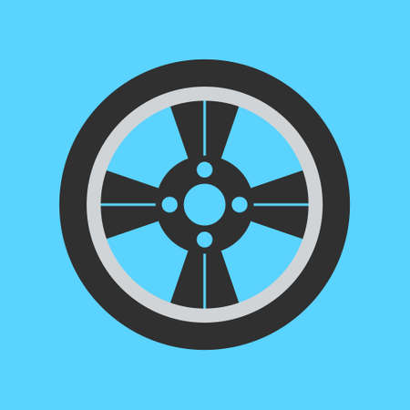 Car Transmission: Car wheel flat icon on background. Vector illustration. Isolated.