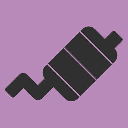 Tubo de escape icono plana en el fondo. Ilustración del vector. Aislado.