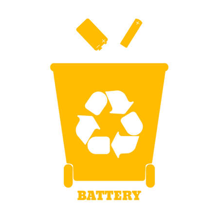 classify: Big colorful containers for recycling waste sorting - battery. Vector illustration.