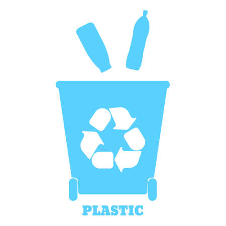 food waste: Big colorful containers for recycling waste sorting - plastic. Vector illustration.