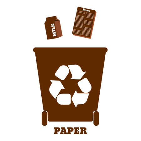 sorting: Big colorful containers for recycling waste sorting - paper. Vector illustration.