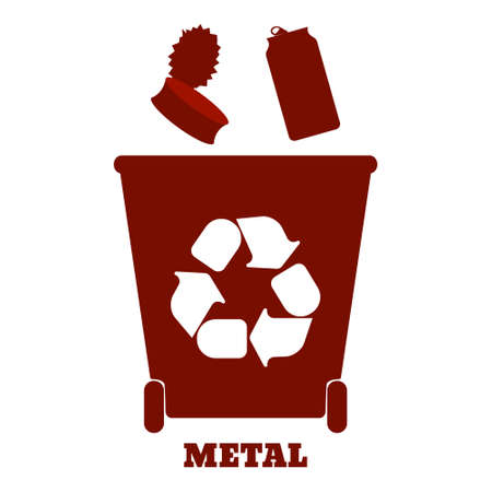 sorting: Big colorful containers for recycling waste sorting - metal. Vector illustration.