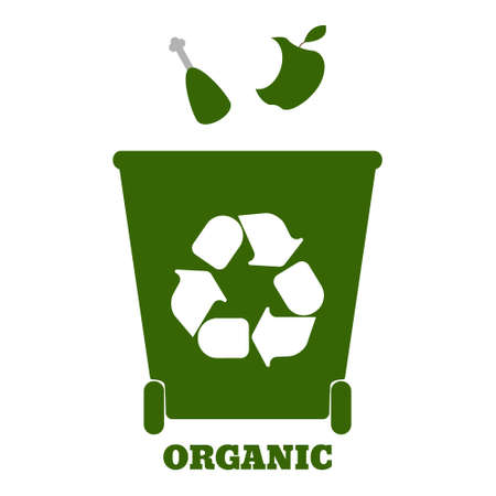 Big colorful containers for recycling waste sorting - organic. Vector illustration.