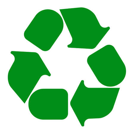 recycling symbol: Recycling symbol white on green. Vector illustration.
