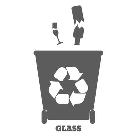 sorting: Big colorful containers for recycling waste sorting - glass. Vector illustration.