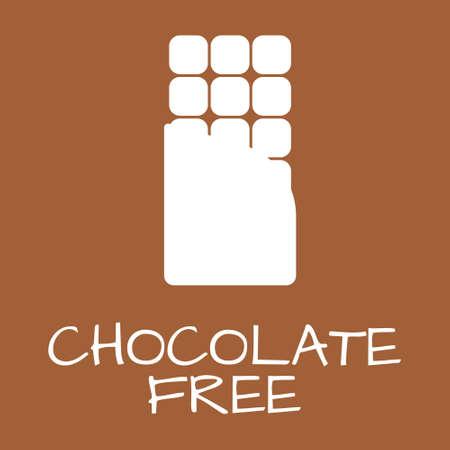 intolerancia: El chocolate etiqueta libre. símbolos intolerancia alimentaria. Ilustración del vector.
