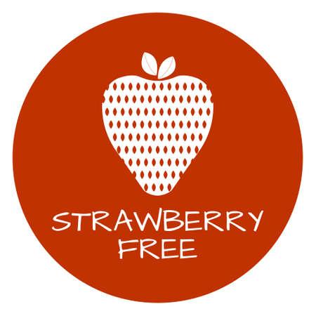 Strawberry Free Label. Food intolerance symbols. Vector illustration. Vettoriali