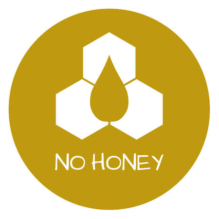 dietary: No honey Label. Food intolerance symbols. Vector illustration.
