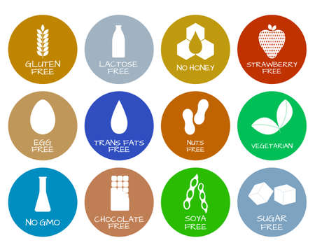 Set of food labels - allergens, GMO free products. Food intolerance symbols collection. Vector illustration. Illustration