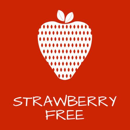 intolerancia: Strawberry Free Label. Food intolerance symbols. Vector illustration. Vectores