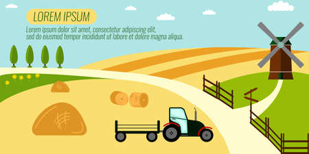 labranza: Agriculture Farming and Rural landscape background. Elements for info graphic, websites.Retro style banner.