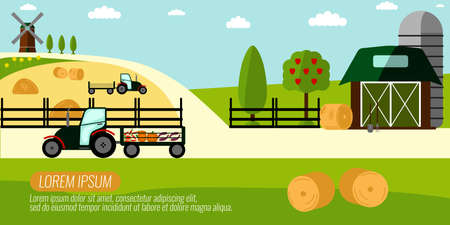 Agriculture Farming and Rural landscape background.