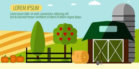 tillage: Agricultura Agricultura y el fondo del paisaje rural. Elementos para la información gráfica, Bandera del estilo websites.Retro.