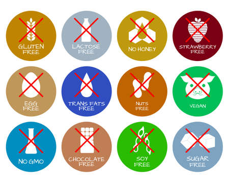 alergenos: Set of food labels - allergens, GMO free products. Food intolerance symbols collection. Vectores
