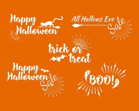 Halloween set of greeting card Calligraphy with sunrays. Sunburst Happy Halloween banner or poster. Vector illustration.