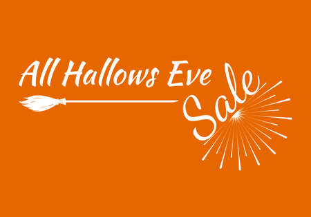 All Hallows greeting card Calligraphy with sunrays. Sunburst Happy Halloween banner or poster. Vector illustration.