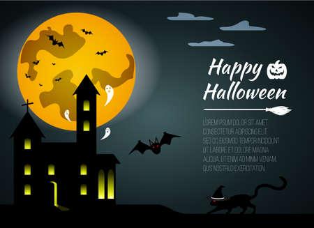 necropolis: Halloween black castle on yellow Moon background. Gift card Happy Halloween. Vector illustration. Illustration