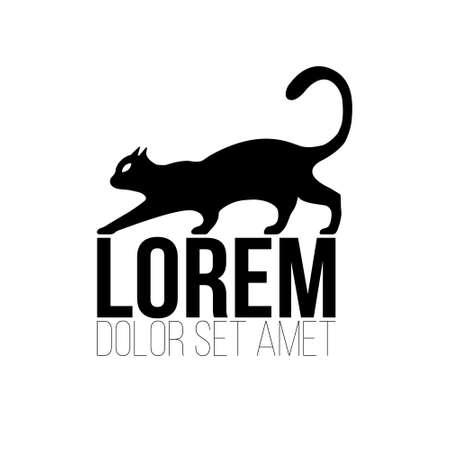 Black Cat logo. Vintage cat silhouette on white background. Vector illustration. Logo