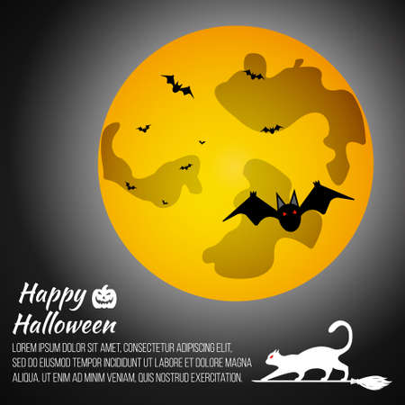 necropolis: Halloween moon on grey background with cat and bat. Gift card Happy Halloween. Vector illustration.